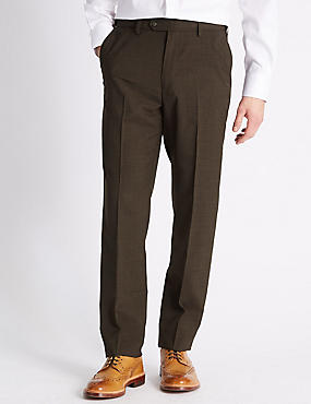 Tailored Fit Wool Blend Flat Front Trousers, BROWN, catlanding