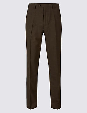 Tailored Fit Wool Blend Flat Front Trousers