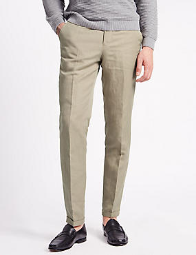 Tailored Fit Chinos with Linen