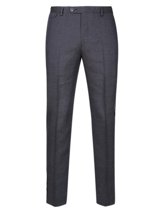 Linen Blend Flat Front Trousers Clothing