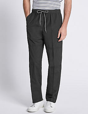 Cotton Rich Pull On Trousers