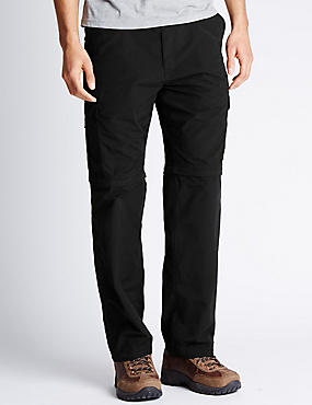 Regular Cotton Rich Trekking Trousers with Belt , BLACK, catlanding