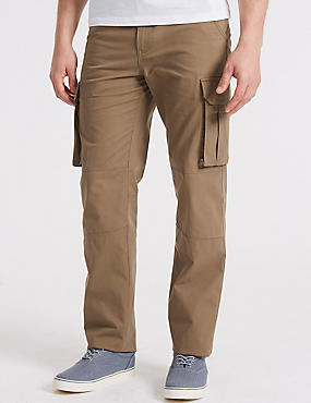 Pure Cotton Cargo Trousers, STONE, catlanding