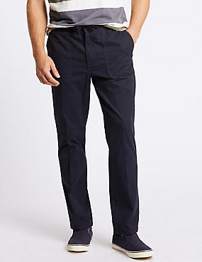Regular Fit Pure Cotton Chinos, NAVY, catlanding