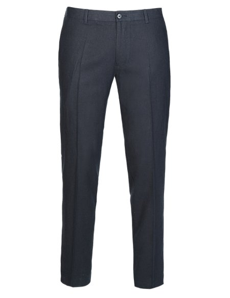 Linen Blend Slim Fit Supercrease™ Flat Front Trousers