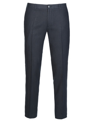 Linen Blend Slim Fit Supercrease™ Flat Front Trousers Clothing