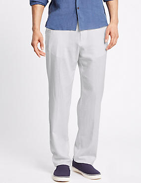 Regular Fit Linen Rich Trousers