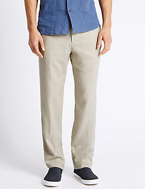 Big & Tall Regular Fit Linen Rich Trousers