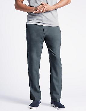 Regular Fit Linen Rich Trousers, SOFT BLUE, catlanding