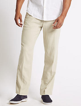 Regular Fit Linen Rich Chinos