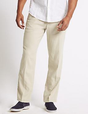 Regular Fit Linen Rich Trousers, LIGHT STONE, catlanding