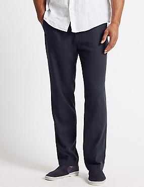 Regular Fit Linen Rich Trousers, NAVY, catlanding