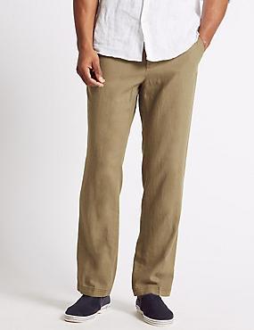Regular Fit Linen Rich Trousers, COFFEE, catlanding
