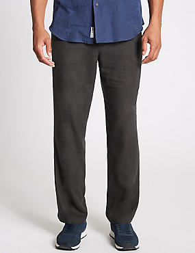 Regular Fit Linen Rich Trousers, CHARCOAL, catlanding