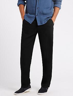 Regular Fit Linen Rich Trousers, BLACK, catlanding