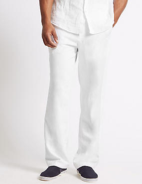 Regular Fit Linen Rich Trousers, WHITE, catlanding