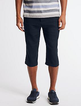 Linen Rich Adjustable Waist Shorts, NAVY, catlanding
