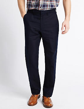 Tailored Fit Linen Rich Trousers