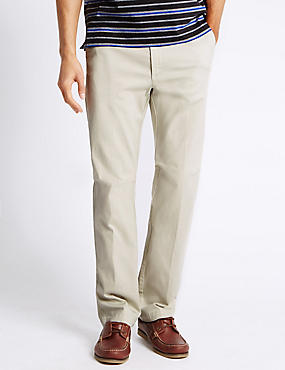 Regular Pure Cotton Trousers with Stretch