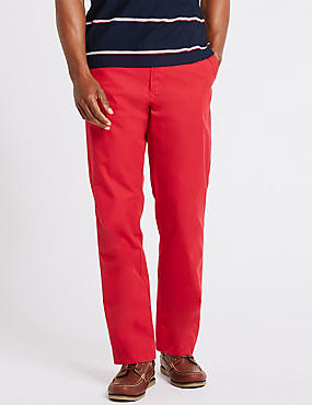 Super Lightweight Regular Fit Chinos, RED, catlanding