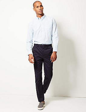 Tailored Fit Pure Cotton Chinos, NAVY, catlanding