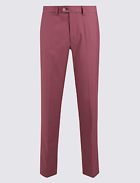 Slim Fit Flat Front Chinos, RASPBERRY, catlanding