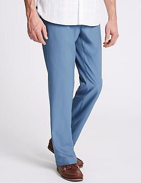 Slim Fit Flat Front Golf Chinos, BLUE, catlanding