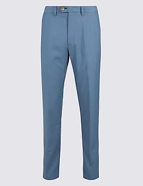 Slim Fit Flat Front Chinos, BLUE, catlanding