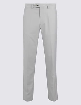 Slim Fit Flat Front Chinos, GREY, catlanding