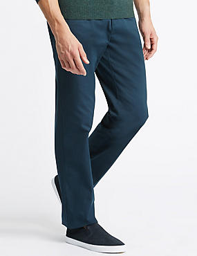 Pure Cotton Flat Front Chinos with Stormwear™