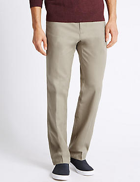 Regular Fit Cotton Chinos with Active Waist