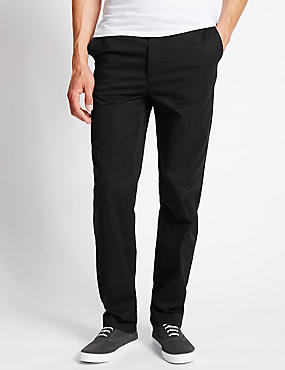 Pure Cotton Chinos with Active Waist, BLACK, catlanding