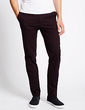 Pure Cotton Slim Fit Flat Front Chinos