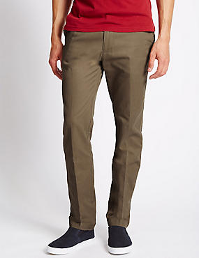 Slim Fit Cotton Chinos with Active Waist