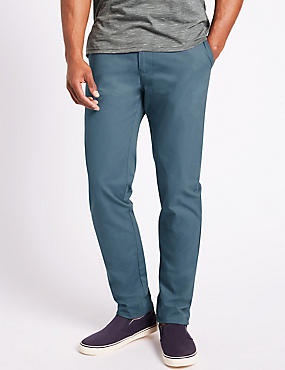 Straight Fit Pure Cotton Chinos, AIR FORCE BLUE, catlanding