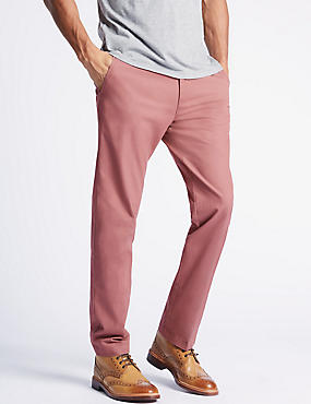 Straight Fit Pure Cotton Chinos, DUSKY PINK, catlanding