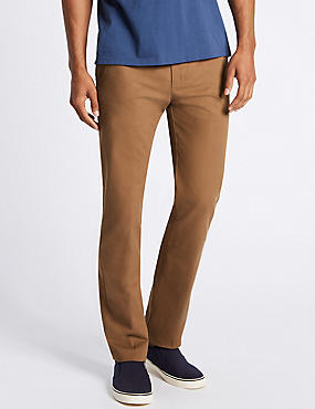 Straight Fit Pure Cotton Chinos, DARK STONE, catlanding