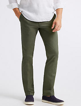 Straight Fit Pure Cotton Chinos, SAGE GREEN, catlanding