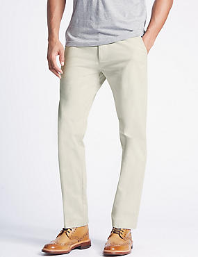 Straight Fit Pure Cotton Chinos, ECRU, catlanding