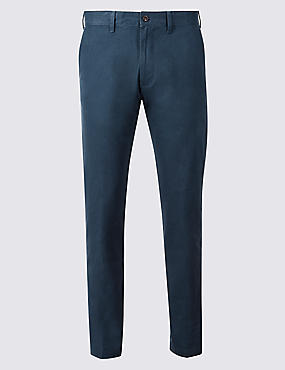 Straight Fit Pure Cotton Chinos, MID BLUE, catlanding