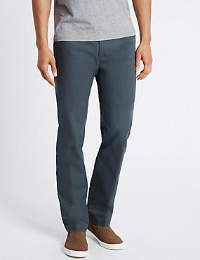 Straight Fit Pure Cotton Chinos, DARK TEAL, catlanding