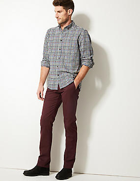 Straight Fit Pure Cotton Chinos, BURGUNDY, catlanding