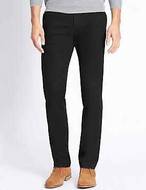 Straight Fit Pure Cotton Chinos, BLACK, catlanding