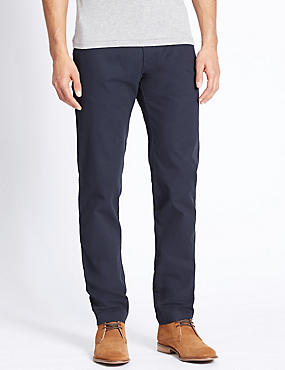 Slim Fit Pure Cotton Chinos  , NAVY, catlanding