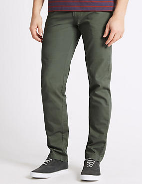 Slim Fit Pure Cotton Chinos  , WASHED GREEN, catlanding