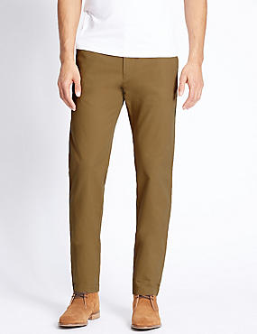 Slim Fit Pure Cotton Flat Front Chinos