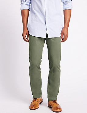 Big & Tall Straight Fit Pure Cotton Chinos, WASHED GREEN, catlanding