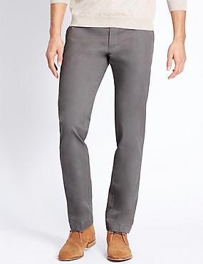 Big & Tall Straight Fit Pure Cotton Chinos, MEDIUM GREY, catlanding