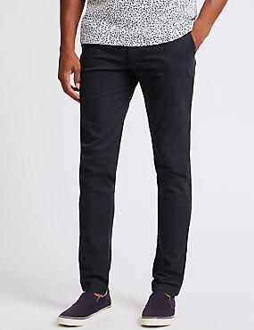 Straight Fit Pure Cotton Chino Trousers, NAVY, catlanding