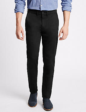 Slim Fit Cotton Rich Chinos with Stretch, BLACK, catlanding